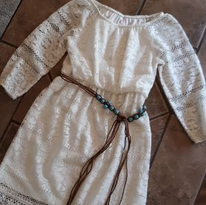 ✌lace lined and belted boho dress girl's medium✌